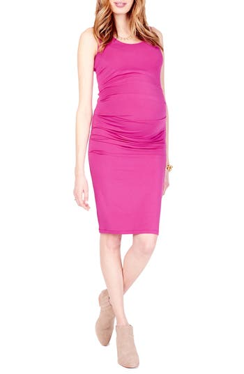 Ingrid & Isabel Ruched Maternity Tank Dress, Pink
