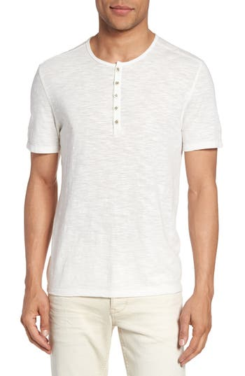 John Varvatos Star Usa Melange Knit Henley, White