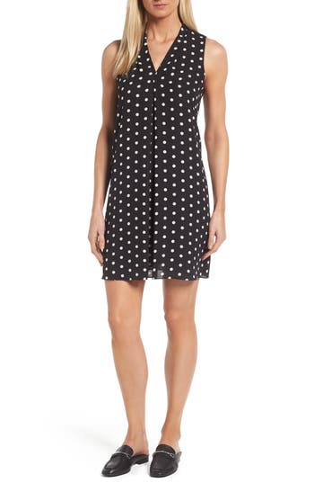 Vince Camuto Polka Dot Inverted Pleat Shift Dress