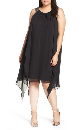 Plus Size Xscape Embellished Handkerchief Hem Trapeze Dress, Black