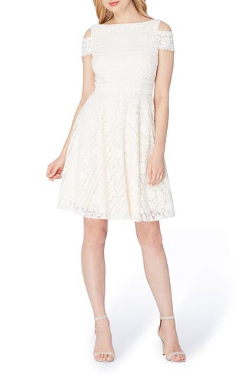 Tahari Lace Cold Shoulder A-Line Dress