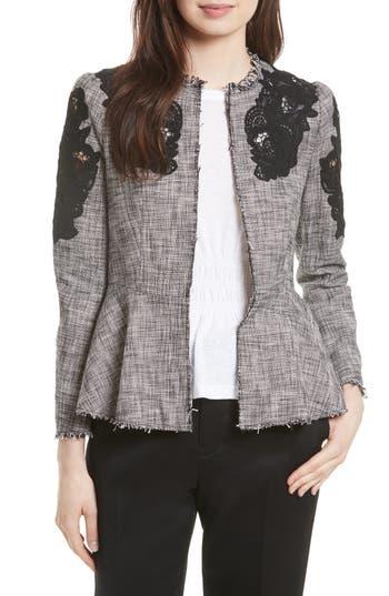 Women's Rebecca Taylor Lace Inset Tweed Jacket, Size 0 - Black