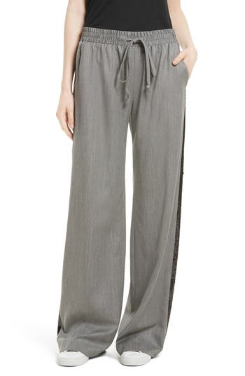 Women's Milly Sequin Gabardine Track Pants, Size Petite - Grey
