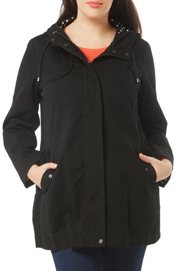 Plus Size Women's Evans Hooded A-Line Raincoat, Size 22W-24W US / 26-28 UK - Black