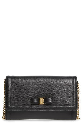 Salvatore Ferragamo Mini Vara Leather Crossbody Bag - Black