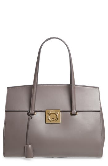 Salvatore Ferragamo Large Smooth Leather Tote -