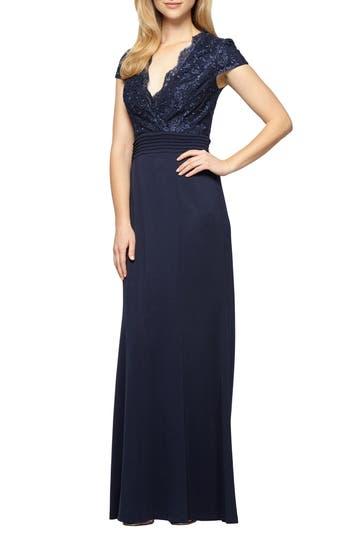 Alex Evenings Lace & Jersey A-Line Gown, Blue