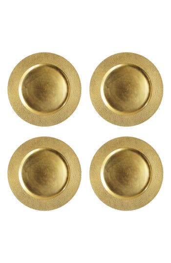 American Atelier Sand Set Of 4 Charger Plates, Size One Size - Metallic