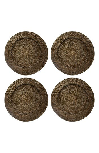 American Atelier Set Of 4 Rattan Charger Plates, Size One Size - Brown