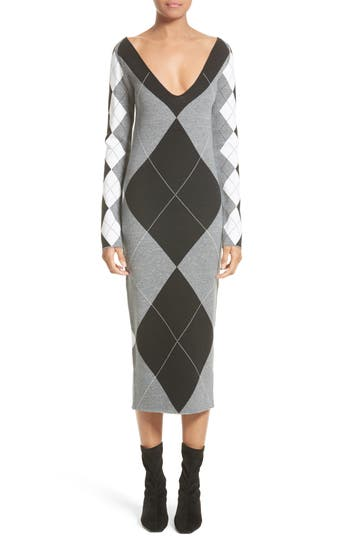 Stella Mccartney Argyle Sweater Dress, 8 IT - Grey