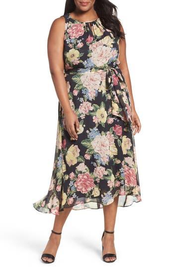 Plus Size Tahari Floral Cutaway Chiffon Maxi Dress
