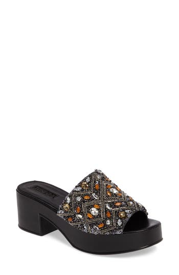 Topshop Villain Beaded Platform Mule - Black