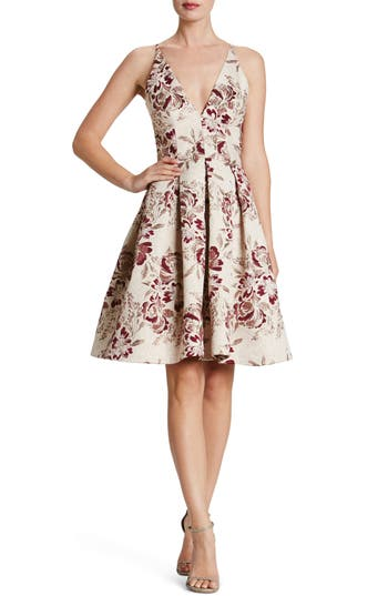 Dress The Population Collette Metallic Jacquard Dress, Burgundy
