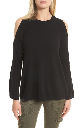 Joie Amalyn Cold Shoulder Wool & Cashmere Sweater, Black