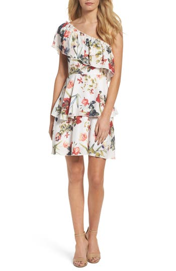 Nsr Ruffle One-Shoulder Dress, White