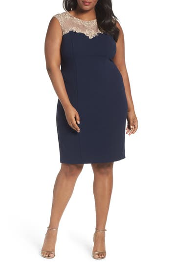 Plus Size Alex Evenings Embellished Sheath Dress, Blue