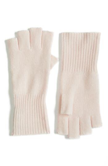 Women's Halogen Cashmere Fingerless Gloves, Size One Size - Pink