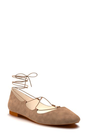 Shoes Of Prey Ghillie Pointy Toe Ballet Flat - Beige