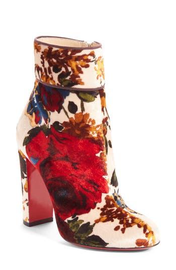 Christian Louboutin Moulamax Floral Velvet Bootie - Beige