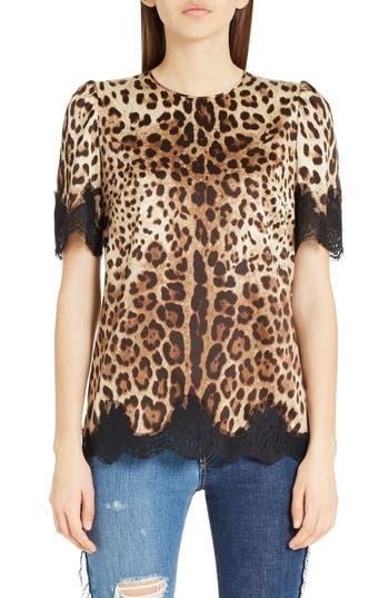 Women's Dolce&gabbana Lace Trim Leopard Print Satin Top