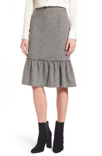 Halogen Ruffle Hem Pencil Skirt, Grey