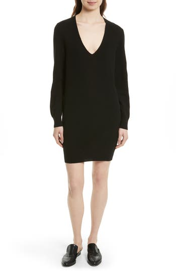 Equipment Rosemary V-Neck Cashmere Sweater Dress, Black