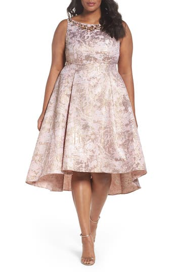 Plus Size Adrianna Papell Embellished Metallic Jacquard Party Dress, Pink