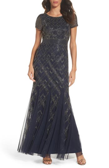 Adrianna Papell Beaded Gown, Blue