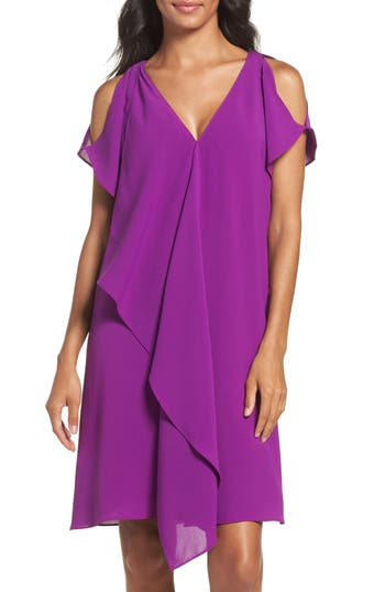 Adrianna Papell Cold Shoulder Draped Shift Dress, Purple