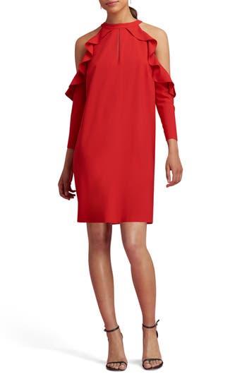 Eci Cold Shoulder Shift Dress, Red