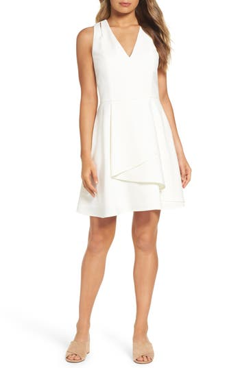 Adelyn Rae Asymmetrical Crepe Fit & Flare Dress, White