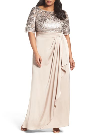 Plus Size Adrianna Papell Floral Sequin Embroidered Gown