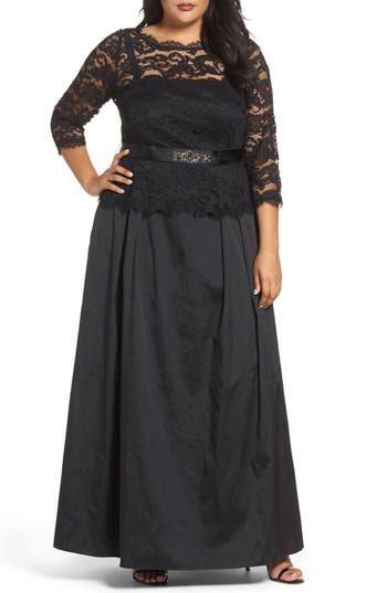 Plus Size Adrianna Papell Nouveau Scroll Illusion Lace Gown
