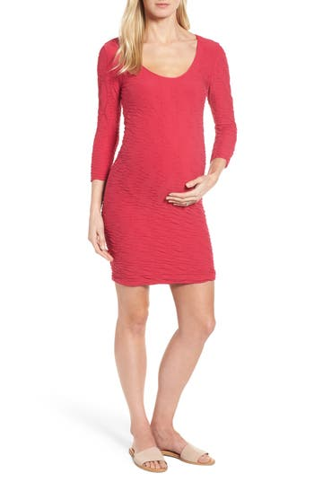 Tees By Tina Crinkle Maternity Sheath Dress, Size One Size - Pink
