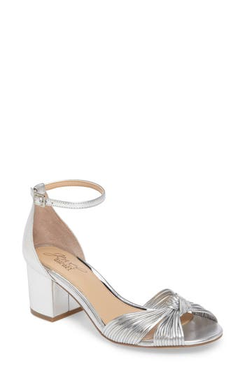 Jewel Badgley Mischka Lacey Ankle Strap Pump- Metallic