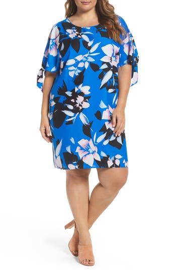 Plus Size Vince Camuto Print Crepe Tie Sleeve Shift Dress, Blue