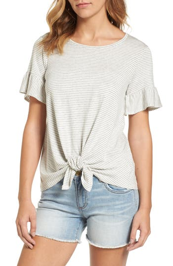 Women's Bobeau Bell Sleeve Tie Front Top, Size X-Small - Grey