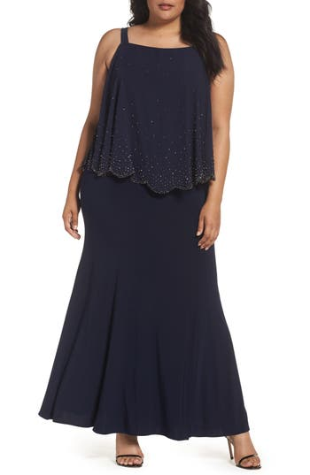 Plus Size Xscape Embellished Overlay Off The Shoulder Gown, Blue
