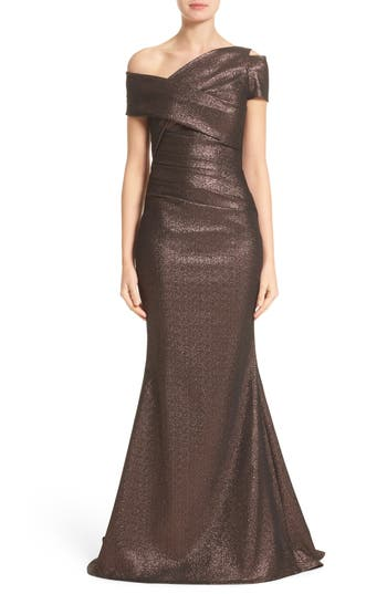 Talbot Runhof Glitter Knit Asymmetrical Mermaid Gown, Metallic
