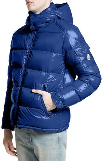 Moncler Maya Lacquered Down Jacket, Blue