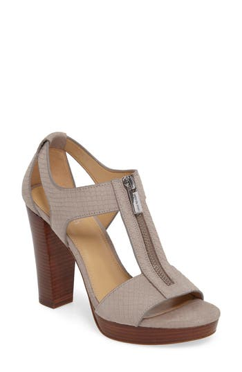 Michael Michael Kors Berkley Zip T-Strap Sandal, Grey