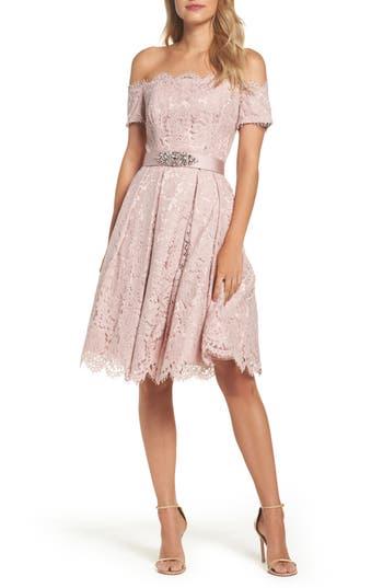 Eliza J Embellished Lace Fit & Flare Dress, Pink