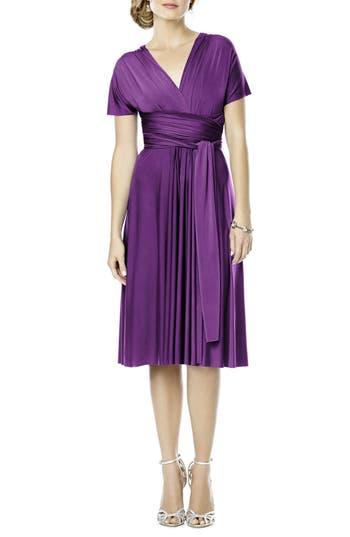 Plus Size Dessy Collection Convertible Wrap Tie Surplice Jersey Dress, Purple