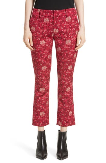 Alice + Olivia Stacey Crop Flare Print Pants, Pink