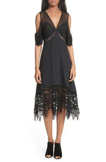 Tracy Reese Poetic Cold Shoulder Dress, Black