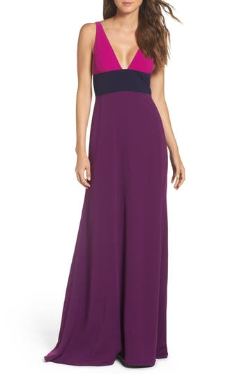 Jill Jill Stuart Colorblock V-Neck Gown, Purple