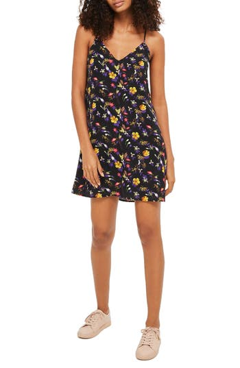 Topshop Floral Strappy Slipdress, US (fits like 0-2) - Black