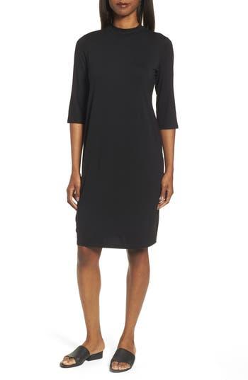 Eileen Fisher Mock Neck Jersey Shift Dress, Black