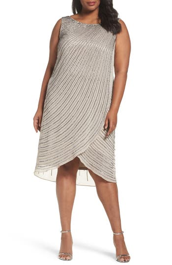 Plus Size Adrianna Papell Beaded High/low Dress, Grey