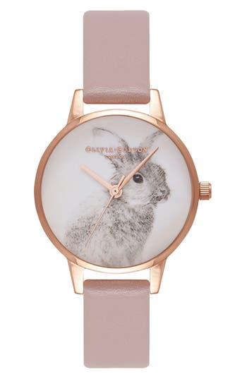 Women's Olivia Burton Woodland Bunny Faux Leather Strap Watch, 30Mm